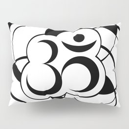 Geometric Om Symbol Black and White Pillow Sham