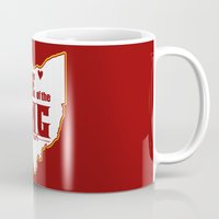 lebron Mugs featuring Home of the King (Red) by Denise Zavagno