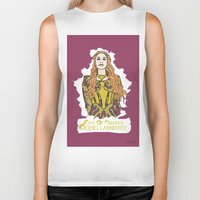 lannister Biker Tanks featuring Cersei by JessicaJaneIllustration