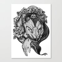 red riding hood Canvas Prints featuring Riding Hood by FLORA+FAUNA