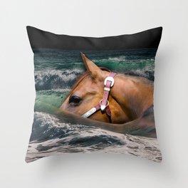 Horse ocean Throw Pillow