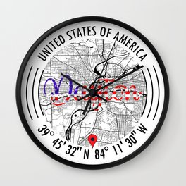 Dayton, USA Road Map Art - Earth Tones Wall Clock