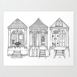 Hand Drawn Shotgun Houses - New Orleans Art Print