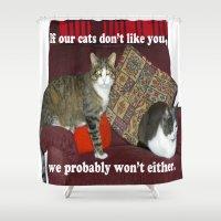 meme Shower Curtains featuring Cat Meme by Frankie Cat