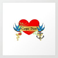 1950's Vintage Bluebird Tattoo Carpe Diem Art Print