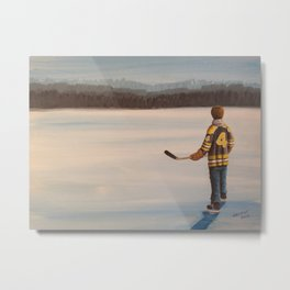 On Frozen Pond - Bobby Metal Print