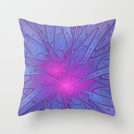 Pink Purple Abstract Flowers Throw Pillow