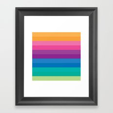 Retro Bright Multicolor Ombre Stripes Pattern Framed Art Print