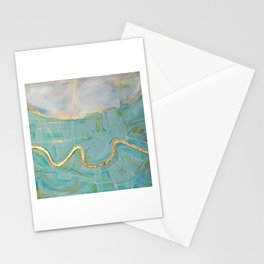 New Orleans Map (turquoise) Stationery Cards