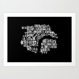 Alphabet Cities 001 - London (Monochrome) Art Print