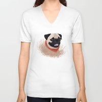 pug V-neck T-shirts featuring Pug by Nir P