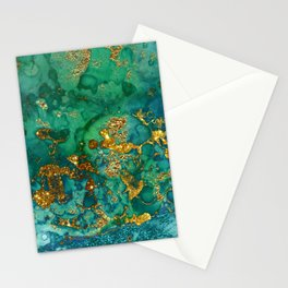 Malachite and Gold Glitter Stone Ink Abstract Gem Glamour Marble Stationery Cards