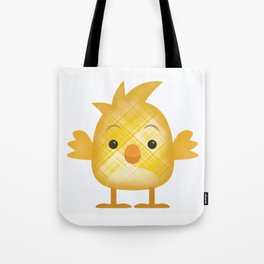 Emoji Chick in plaid Tote Bag
