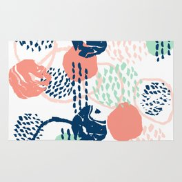 Abstract coral mint navy modern color palette basic canvas art for home Rug