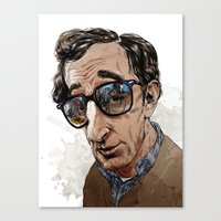 woody allen Canvas Prints featuring Woody Allen by Mitt Roshin