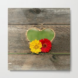 Wooden Heart with Flowers Metal Print