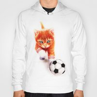 soccer Hoodies featuring Soccer Kitty by Isaiah K. Stephens