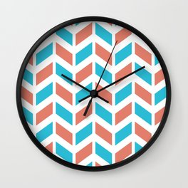 Blue, coral and white chevron pattern Wall Clock