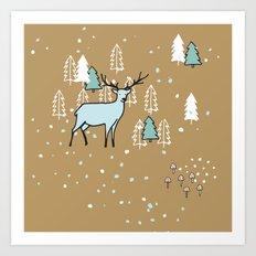 Scandinavian reindeer Art Print