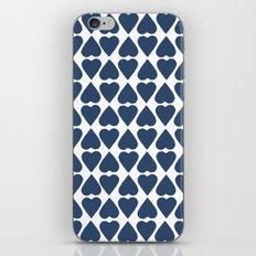 Diamond Hearts Repeat Navy iPhone Skin
