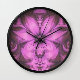 Pretty in Pink Fractal Flower Star-Shaped Petunias Wall Clock