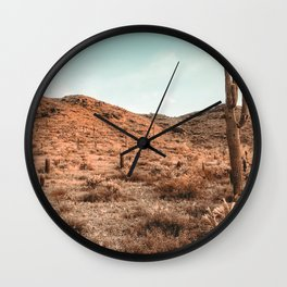 Saguaro Mountain // Vintage Desert Landscape Cactus Photography Teal Blue Sky Southwestern Style Wall Clock