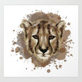 Cheetah Stylized Digital Portrait Art Print