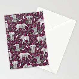 Baby Elephants and Egrets in Watercolor - burgundy red Stationery Cards
