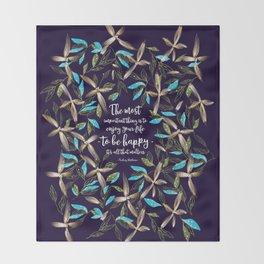 Flower of a brush touch design illustration / Blue Throw Blanket