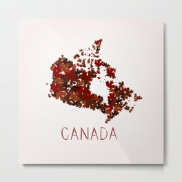 Maple Leafs Map of Canada Metal Print