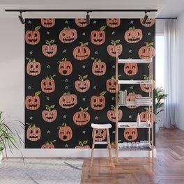 Pumpkins halloween cute jack-o'-lantern pattern fall autumn gifts Wall Mural