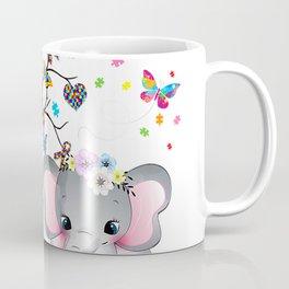 Proud Mom Autism Awareness Shirt Cute Elephant Woman Girls T-Shirt Coffee Mug
