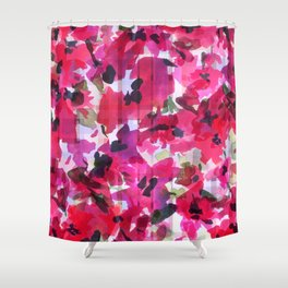 Red Poppy Plaid Shower Curtain