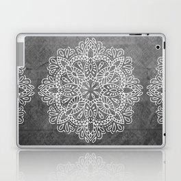 Mandala Vintage White on Ocean Fog Gray Laptop & iPad Skin