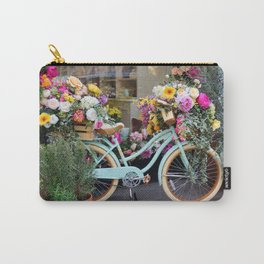 Vintage Bicycle Adorned With Flowers Carry-All Pouch