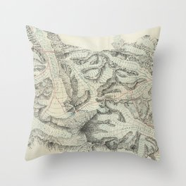 Vintage Map of Mount Everest (1921) Throw Pillow