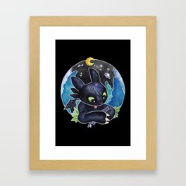 Baby Toothless Night Fury Dragon Watercolor black bg Framed Art Print
