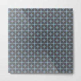 Indigo ethnic pattern squares Metal Print
