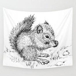 Baby Squirrel Wall Tapestry