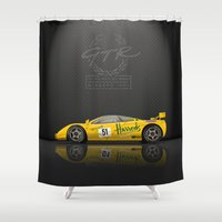 f1 Shower Curtains featuring 1995 McLaren F1 GTR Le Mans - Harrods Livery #06R  by vsixdesign