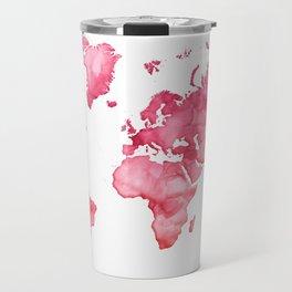 Raspberry watercolor world map Travel Mug