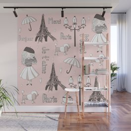 Paris Girl - Pink Wall Mural