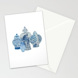 Four 4 Blue and White Ginger Jars  Stationery Cards
