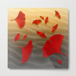 Red Ginko Metal Print