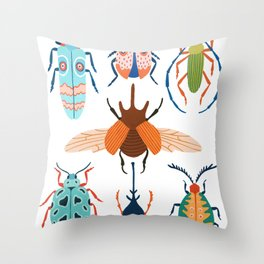 Patterned Beetles Throw Pillow