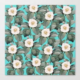 White Camellia Floral On Teal Pattern Canvas Print