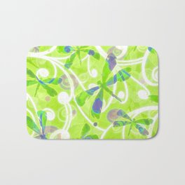 Dragonflies on the Fly /spring green Bath Mat
