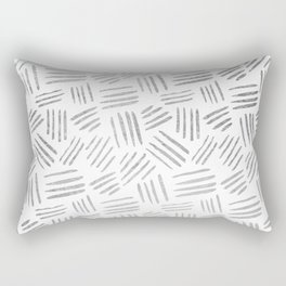 Elegant geometrical faux silver stripes pattern Rectangular Pillow