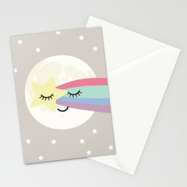 Moon art print, shooting star art print, girls wall art, grey nursery, kids wall art, rainbow art Stationery Cards