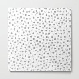 Gray and white Stars Pattern Metal Print